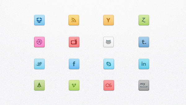 Candy Social Media Icons & Buttons