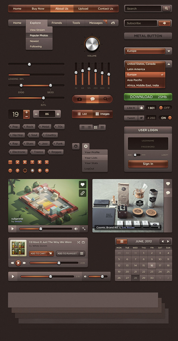 Dark Amber UI – Web User Interface Kit