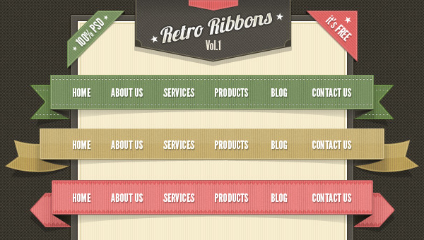 Retro Web Ribbons Vintage Pack