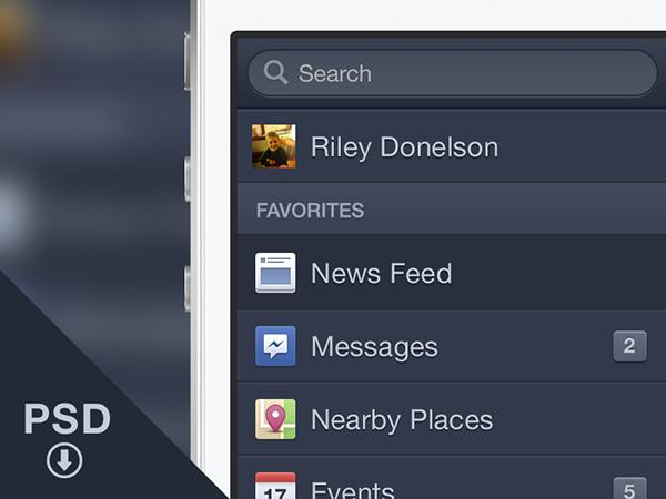 Facebook iOS Menu