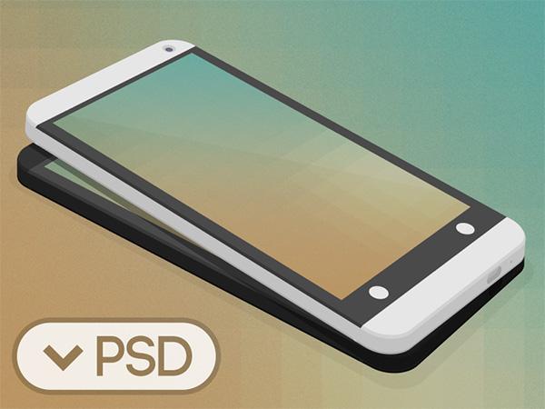 Flat HTC One 3D Mockup
