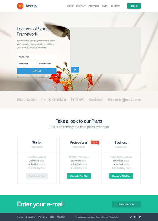 Slick Startup Website Template