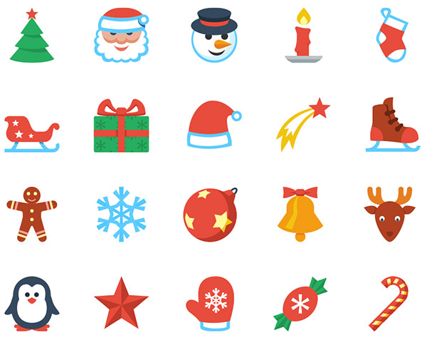 Flat Christmas Icons for Web