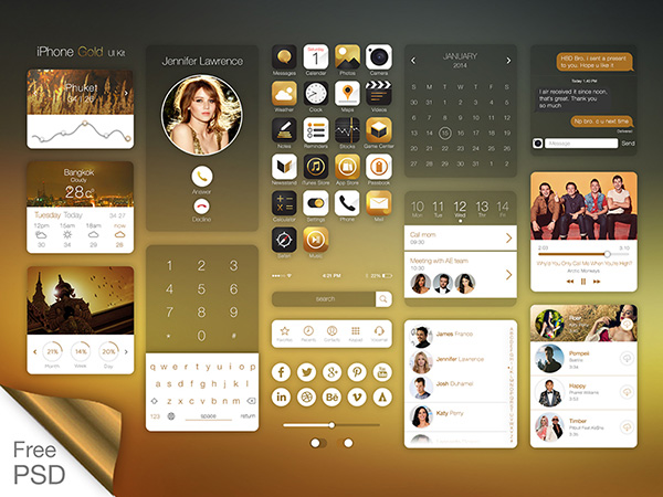 iPhone Gold UI Kit