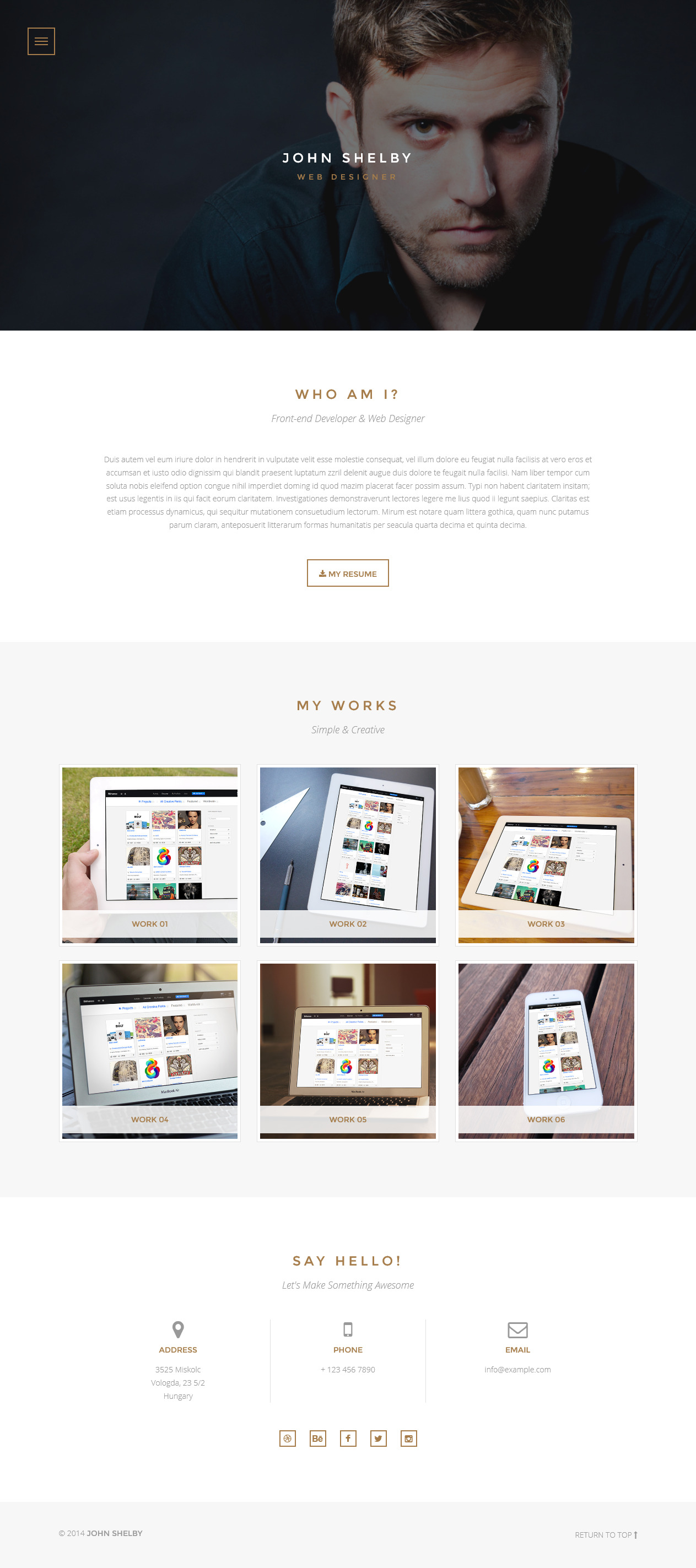 Shelby - One Page HTML5 Template